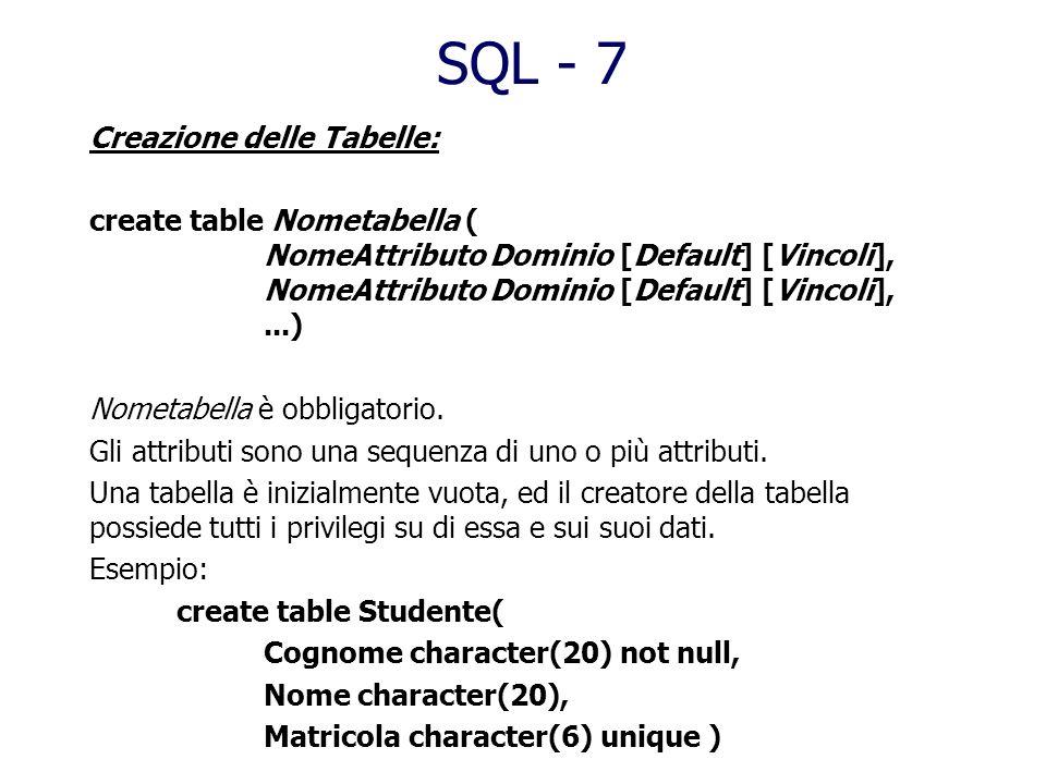 SQL - 7 Creazione delle Tabelle: