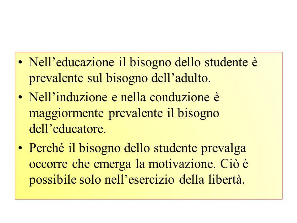 Nell'educazione il bisogno dello studente è prevalente sul bisogno dell'adulto.