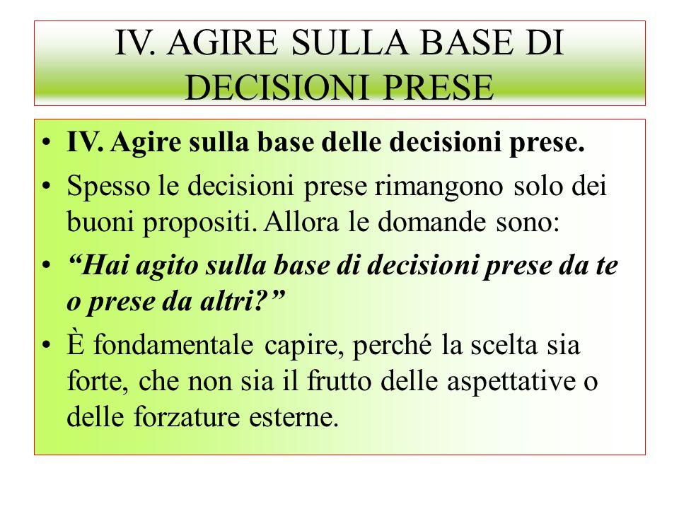 IV. AGIRE SULLA BASE DI DECISIONI PRESE