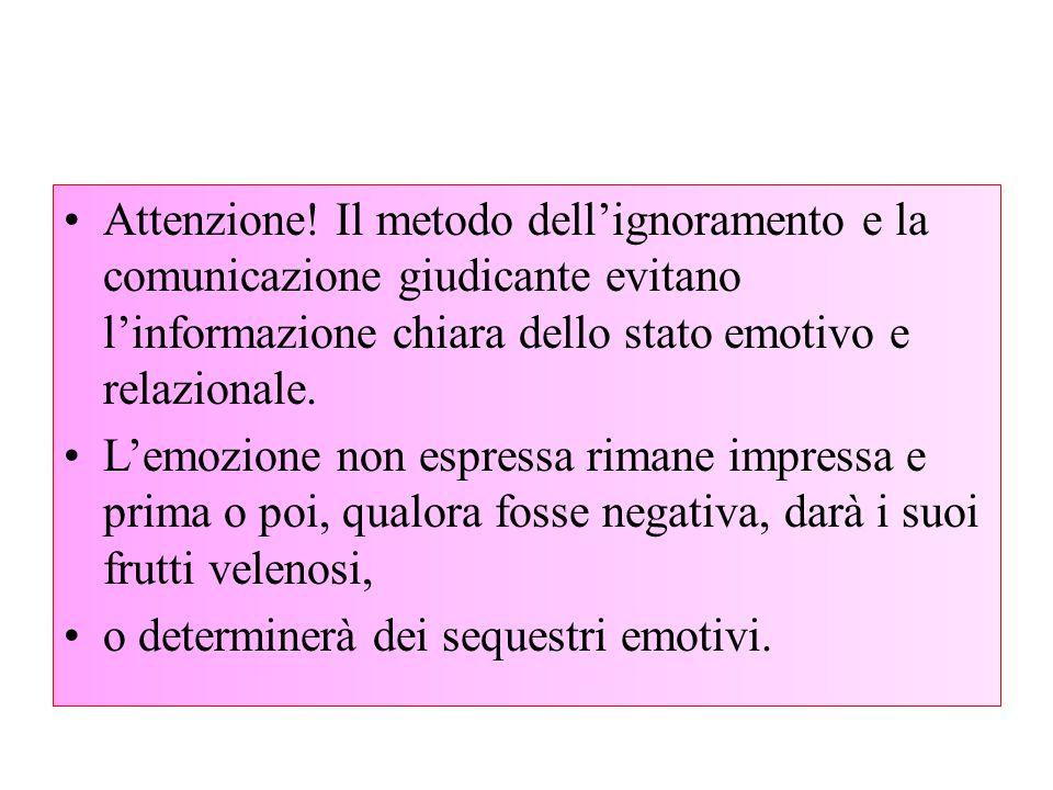 Attenzione! Il metodo dell'ignoramento e la comunicazione giudicante evitano l'informazione chiara dello stato emotivo e relazionale.