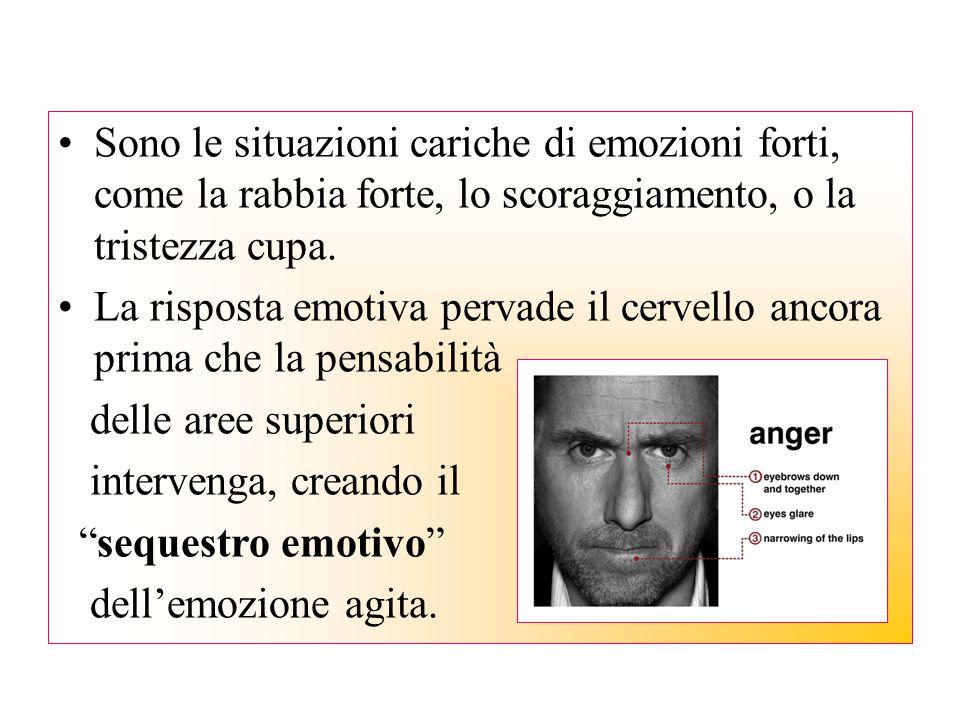 Sono le situazioni cariche di emozioni forti, come la rabbia forte, lo scoraggiamento, o la tristezza cupa.
