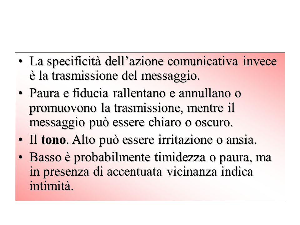 La specificità dell'azione comunicativa invece è la trasmissione del messaggio.