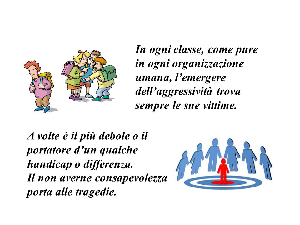 In ogni classe, come pure in ogni organizzazione umana, l'emergere dell'aggressività trova sempre le sue vittime.