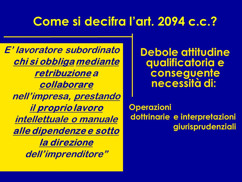 Come si decifra l'art. 2094 c.c.