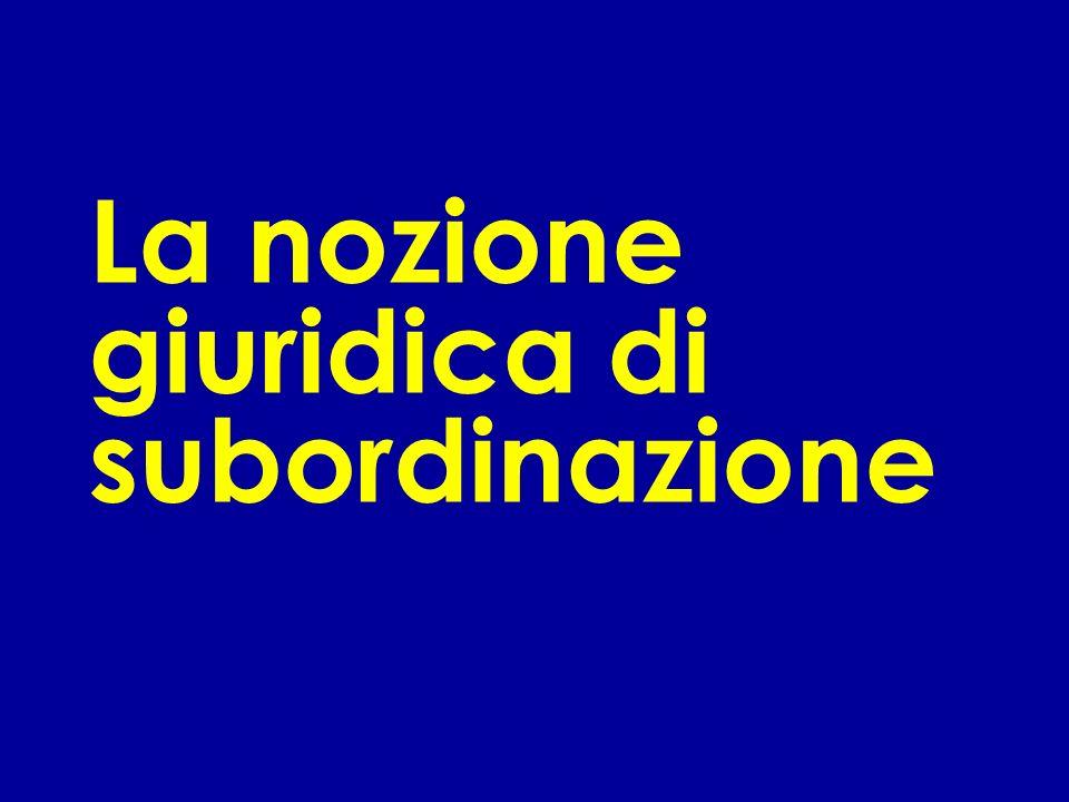 La nozione giuridica di subordinazione
