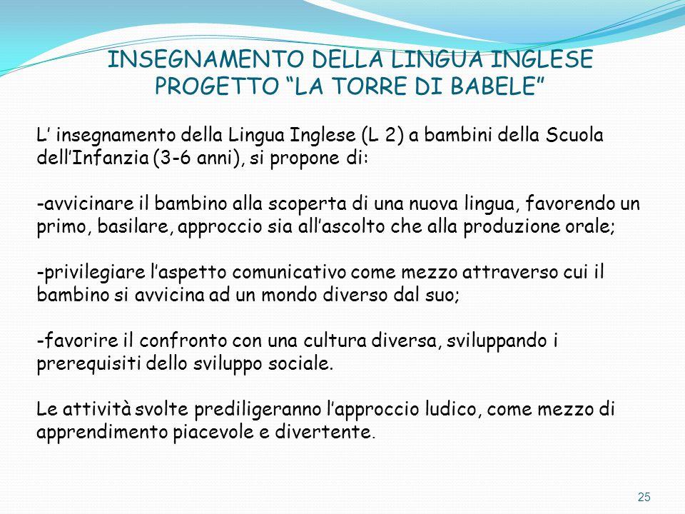 INSEGNAMENTO DELLA LINGUA INGLESE PROGETTO LA TORRE DI BABELE