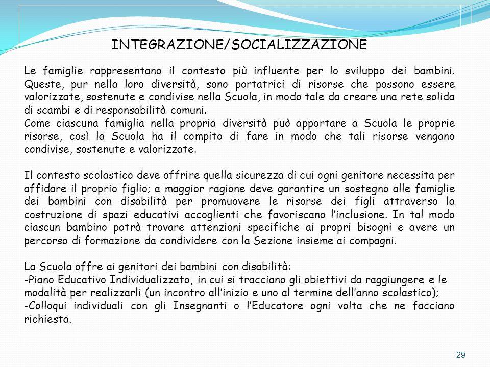 INTEGRAZIONE/SOCIALIZZAZIONE