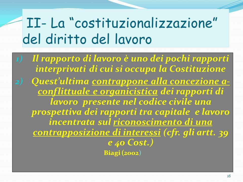 II- La costituzionalizzazione del diritto del lavoro