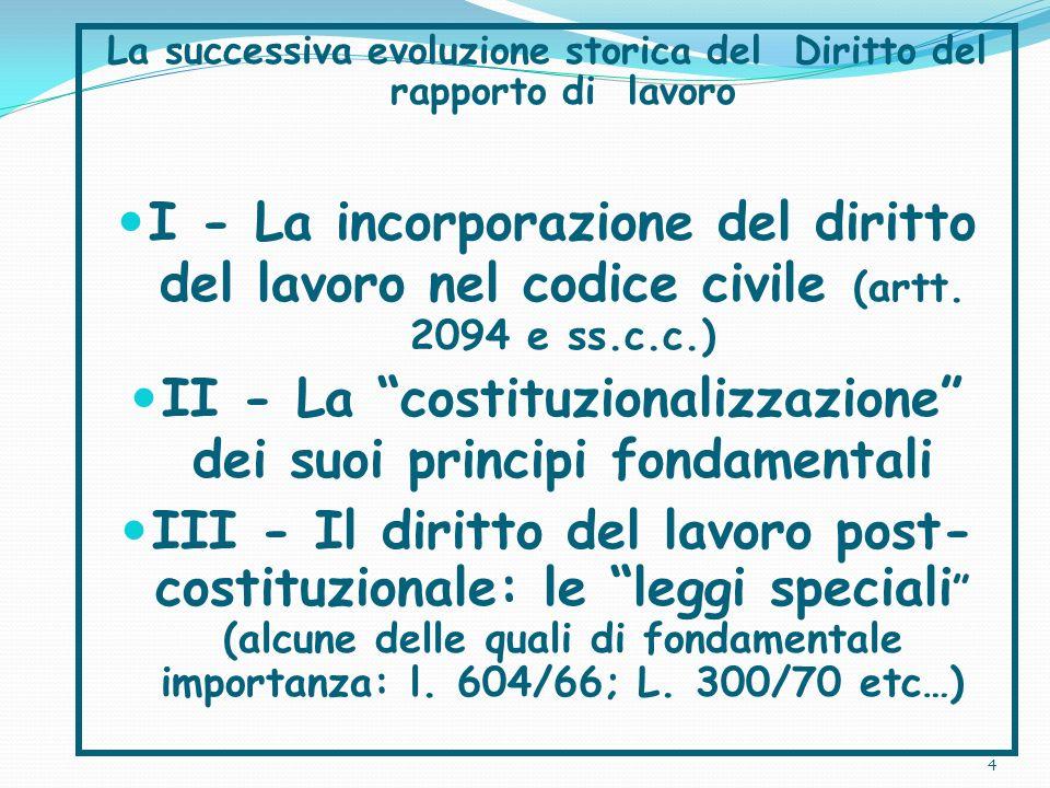 II - La costituzionalizzazione dei suoi principi fondamentali