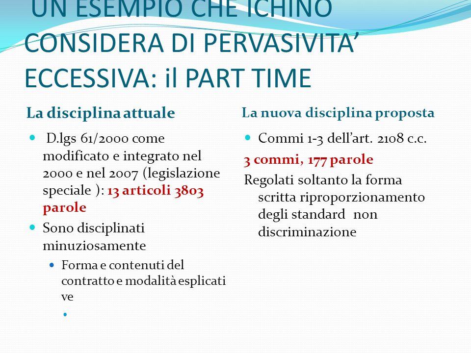 UN ESEMPIO CHE ICHINO CONSIDERA DI PERVASIVITA' ECCESSIVA: il PART TIME