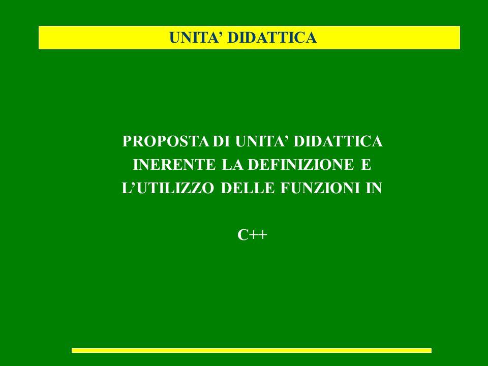 UNITA' DIDATTICA PROPOSTA DI UNITA' DIDATTICA INERENTE LA DEFINIZIONE E L'UTILIZZO DELLE FUNZIONI IN.