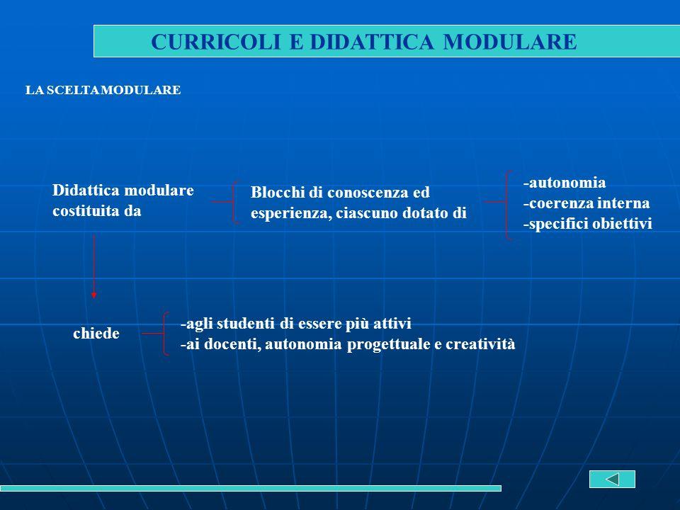 CURRICOLI E DIDATTICA MODULARE