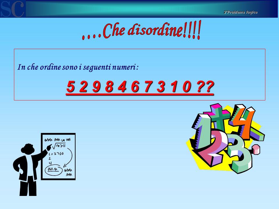 2°Problema logica ….Che disordine!!!! In che ordine sono i seguenti numeri : 5 2 9 8 4 6 7 3 1 0