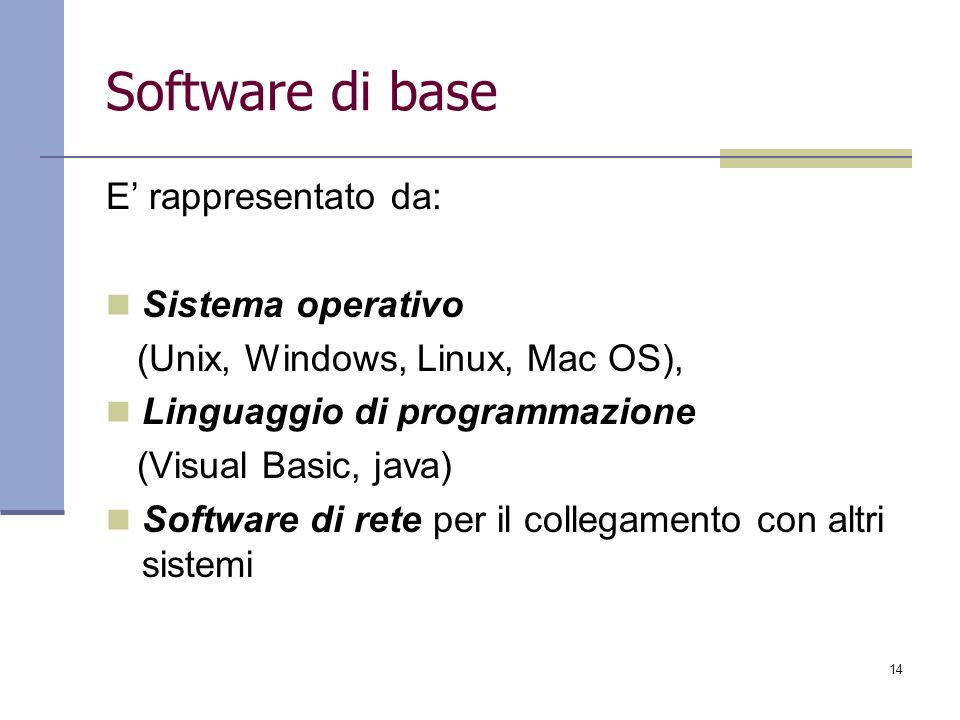 Software di base E' rappresentato da: Sistema operativo