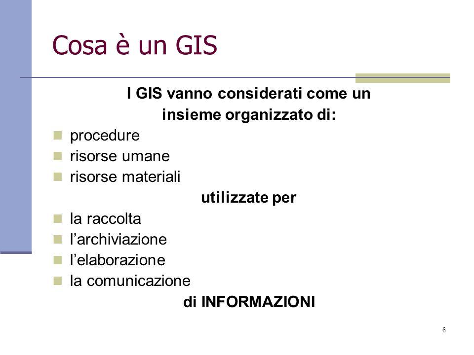 I GIS vanno considerati come un insieme organizzato di: