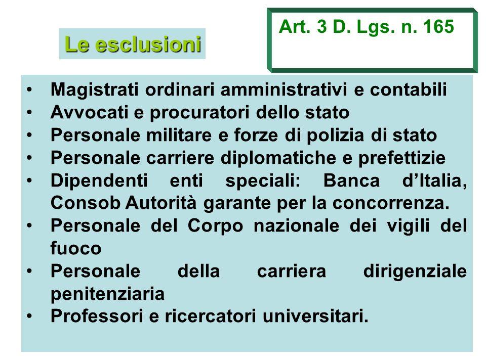 Le esclusioni Art. 3 D. Lgs. n. 165