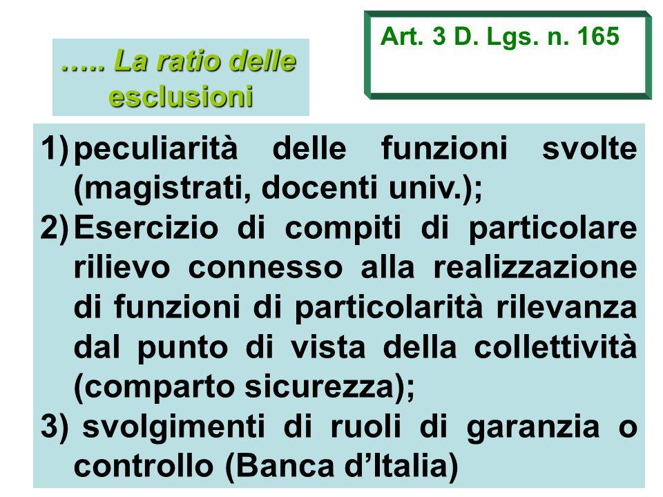 peculiarità delle funzioni svolte (magistrati, docenti univ.);
