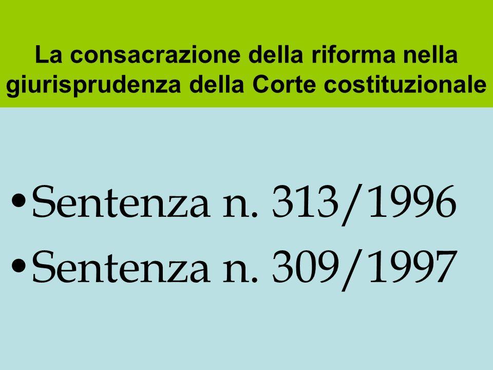Sentenza n. 313/1996 Sentenza n. 309/1997