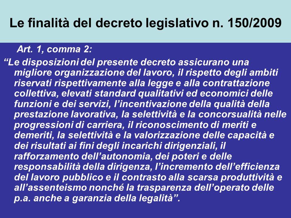 Le finalità del decreto legislativo n. 150/2009