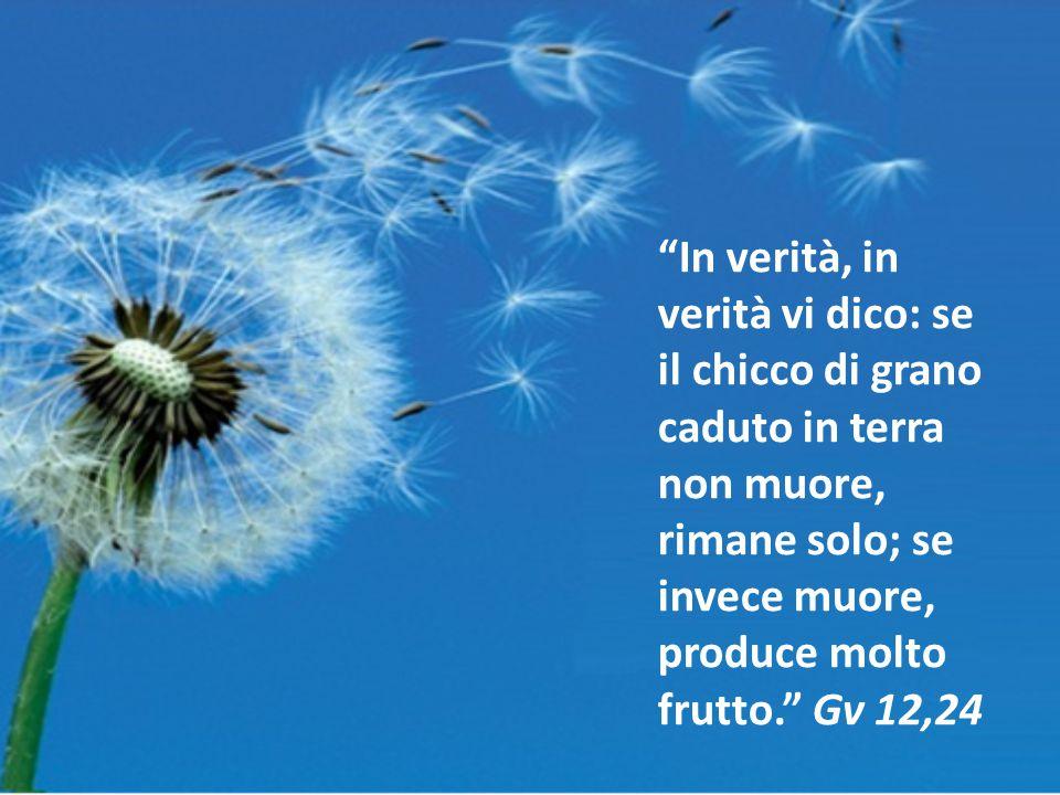 In verità, in verità vi dico: se il chicco di grano caduto in terra non muore, rimane solo; se invece muore, produce molto frutto. Gv 12,24