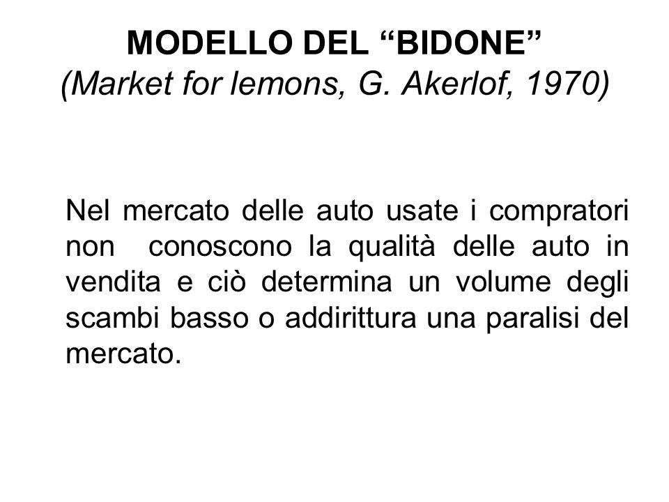MODELLO DEL BIDONE (Market for lemons, G. Akerlof, 1970)