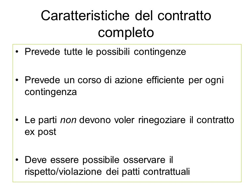 Caratteristiche del contratto completo