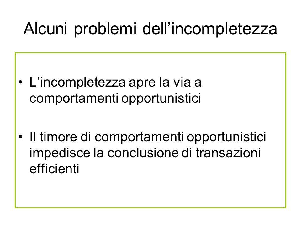 Alcuni problemi dell'incompletezza