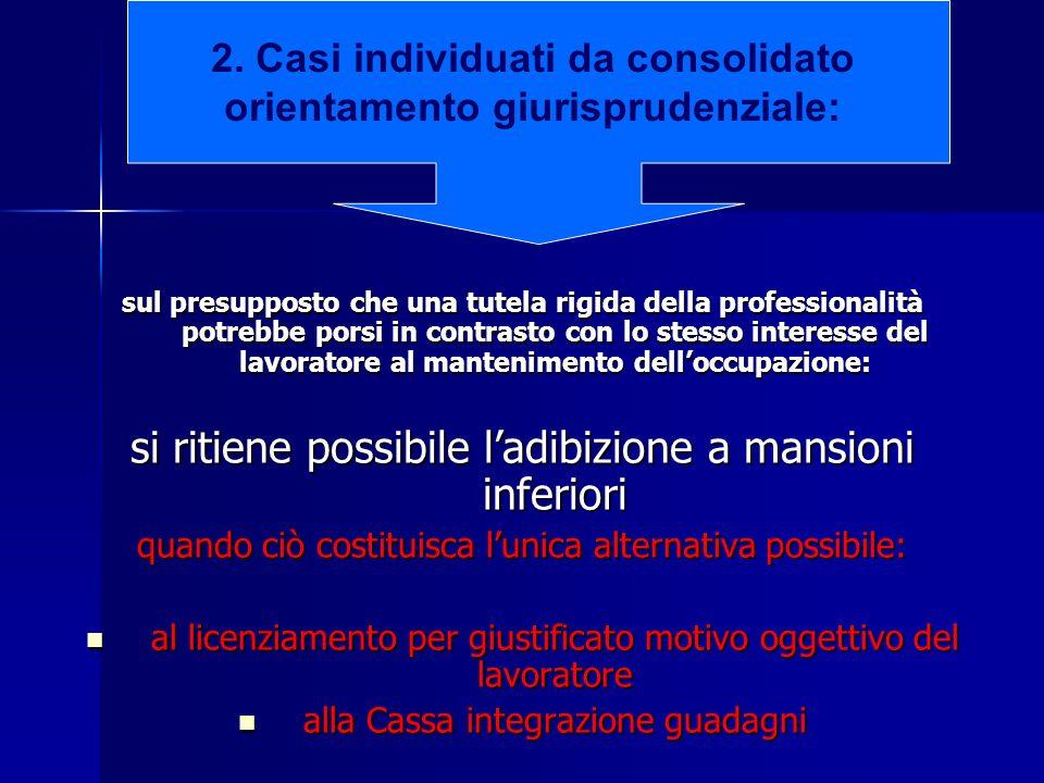 2. Casi individuati da consolidato orientamento giurisprudenziale: