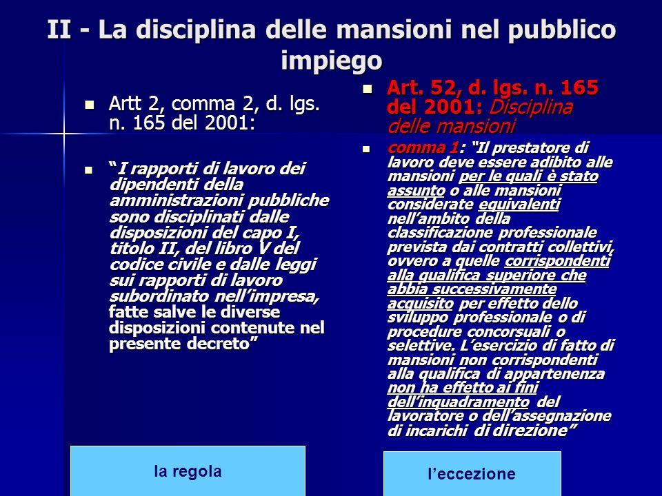 II - La disciplina delle mansioni nel pubblico impiego