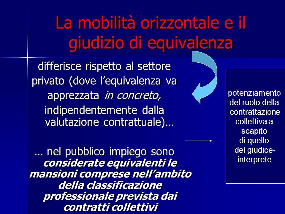 La mobilità orizzontale e il giudizio di equivalenza