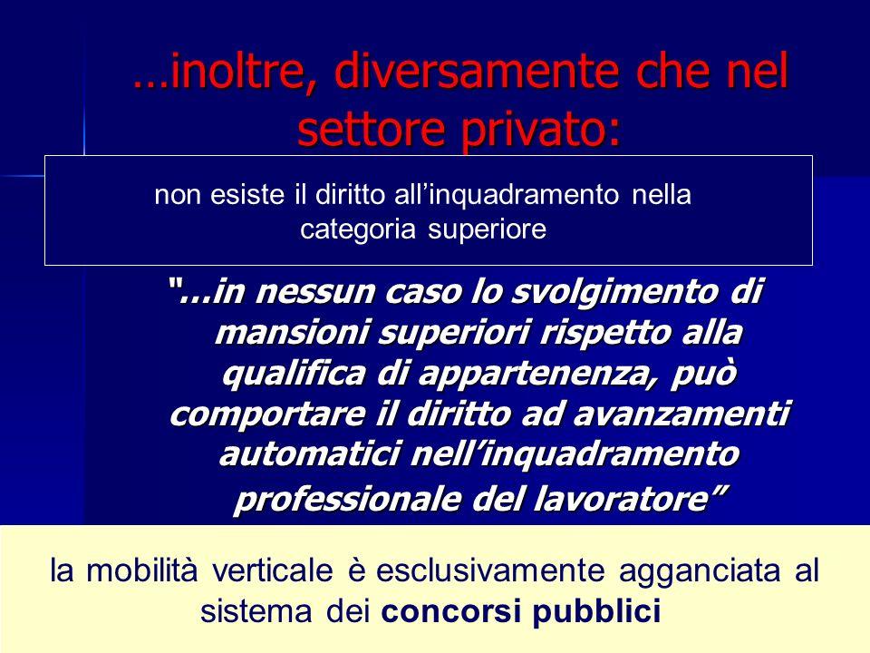 …inoltre, diversamente che nel settore privato: