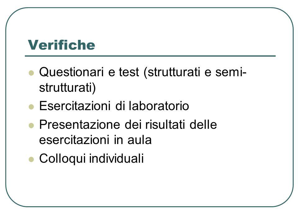 Verifiche Questionari e test (strutturati e semi-strutturati)