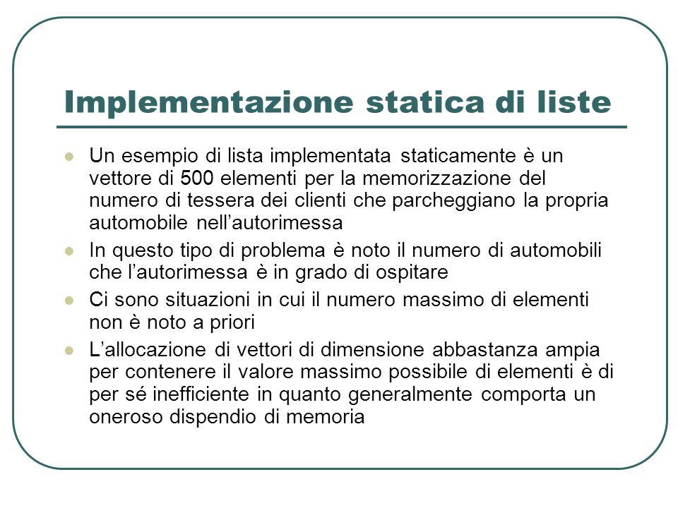 Implementazione statica di liste