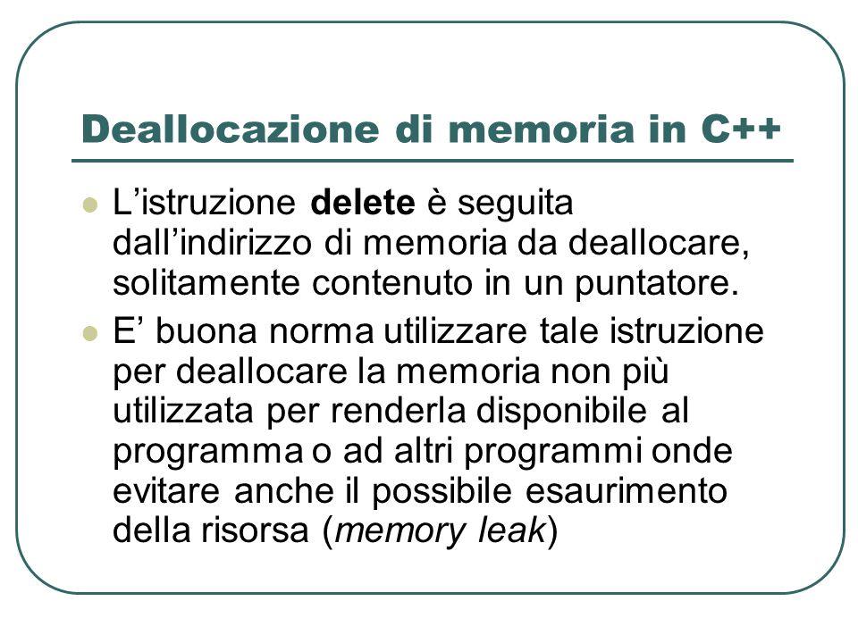 Deallocazione di memoria in C++