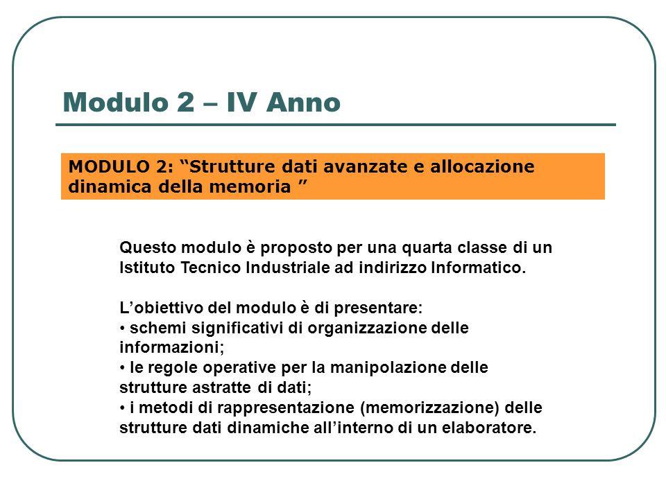 Modulo 2 – IV Anno MODULO 2: Strutture dati avanzate e allocazione dinamica della memoria