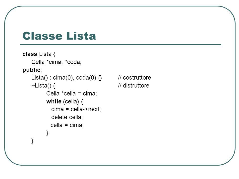 Classe Lista class Lista { Cella *cima, *coda; public: