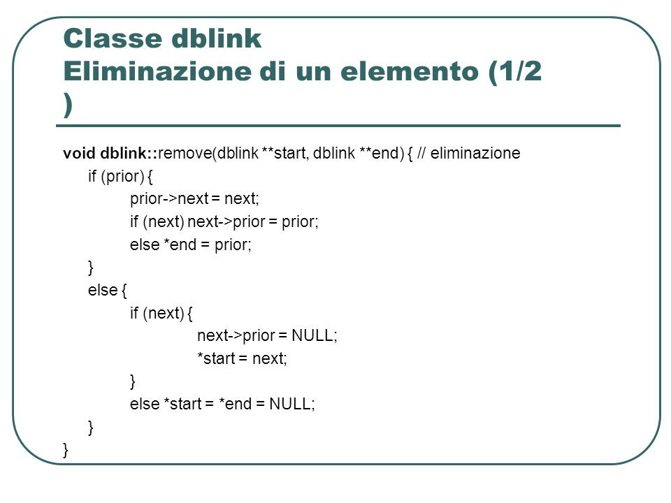 Classe dblink Eliminazione di un elemento (1/2 )