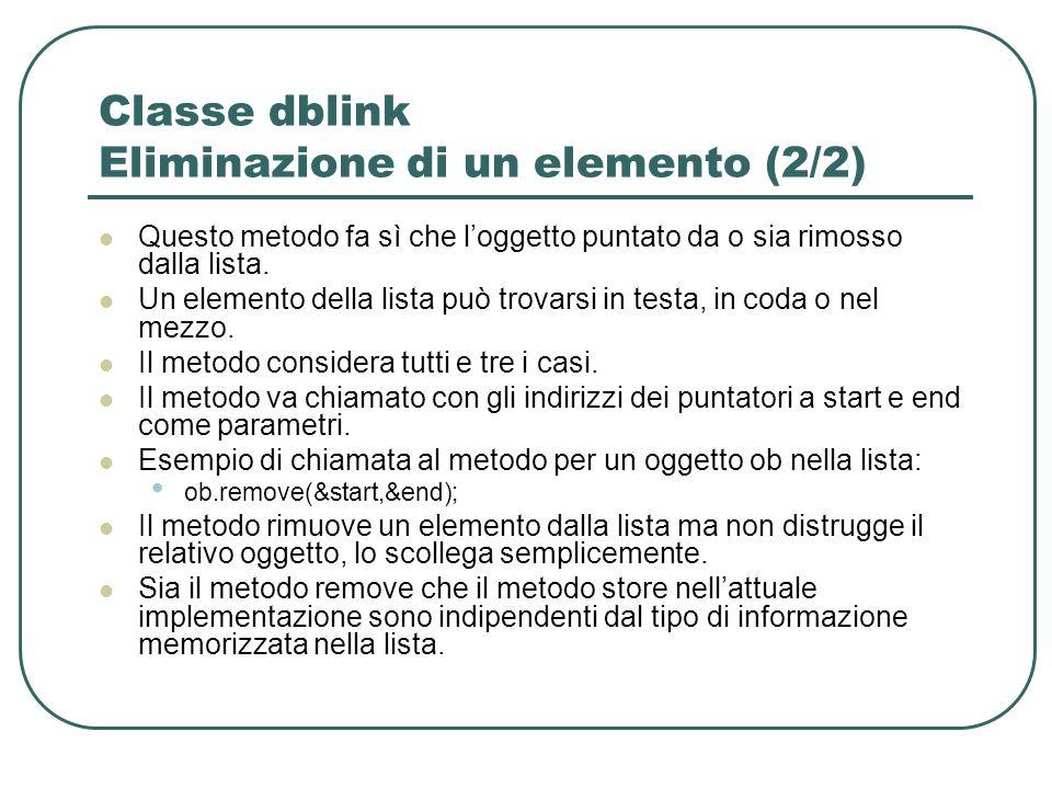 Classe dblink Eliminazione di un elemento (2/2)