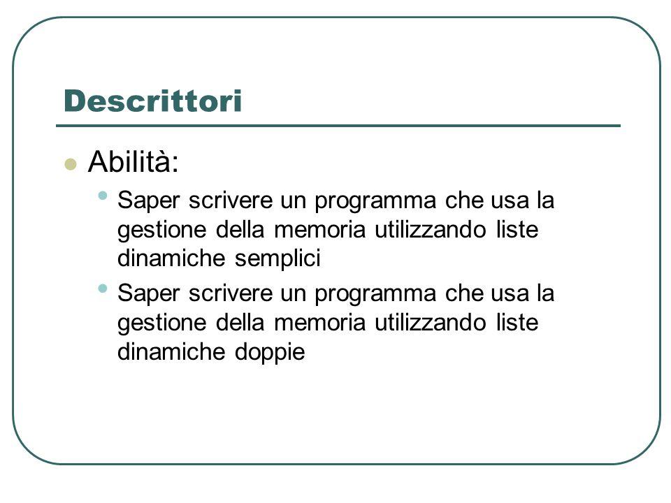 Descrittori Abilità: Saper scrivere un programma che usa la gestione della memoria utilizzando liste dinamiche semplici.