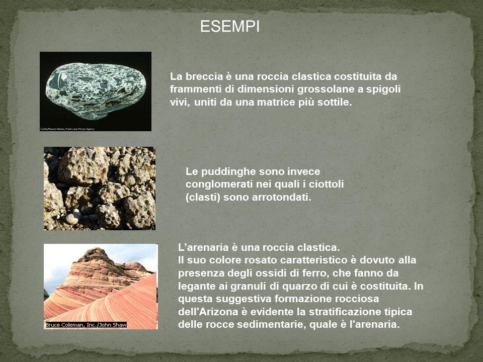 ESEMPI La breccia è una roccia clastica costituita da frammenti di dimensioni grossolane a spigoli vivi, uniti da una matrice più sottile.