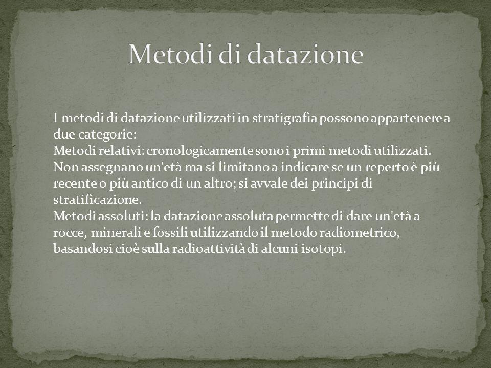 Metodi di datazione I metodi di datazione utilizzati in stratigrafia possono appartenere a due categorie: