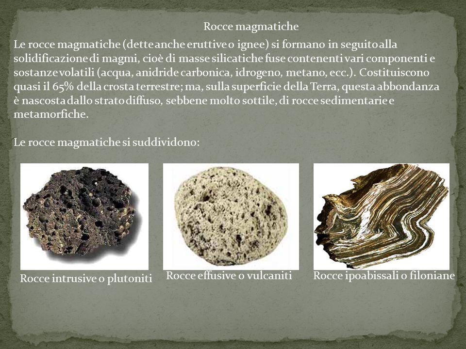 Le rocce magmatiche si suddividono: