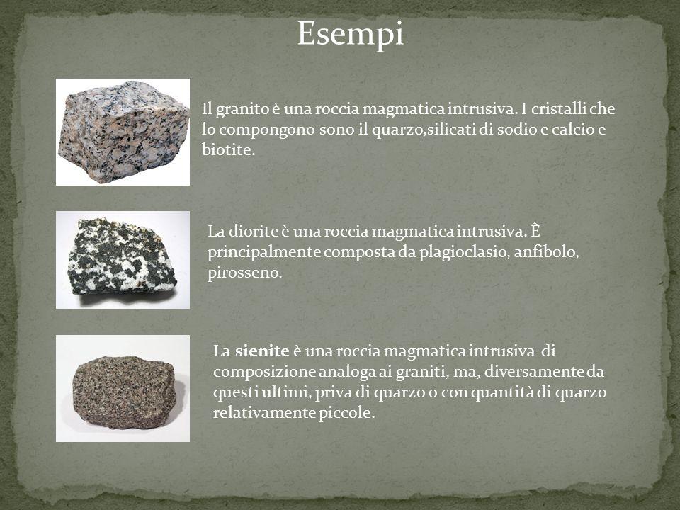 Esempi Il granito è una roccia magmatica intrusiva. I cristalli che lo compongono sono il quarzo,silicati di sodio e calcio e biotite.