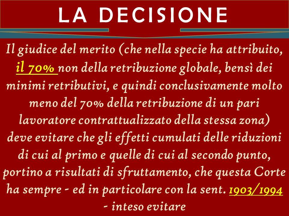 Diritto del lavoro LA DECISIONE.