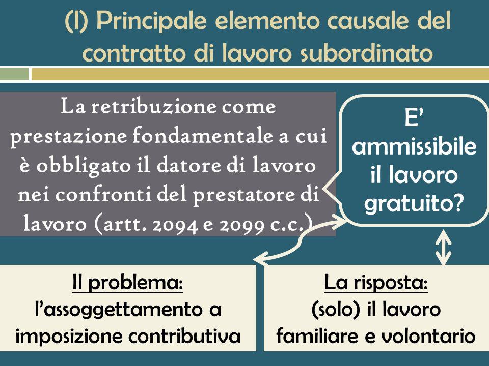 (I) Principale elemento causale del contratto di lavoro subordinato