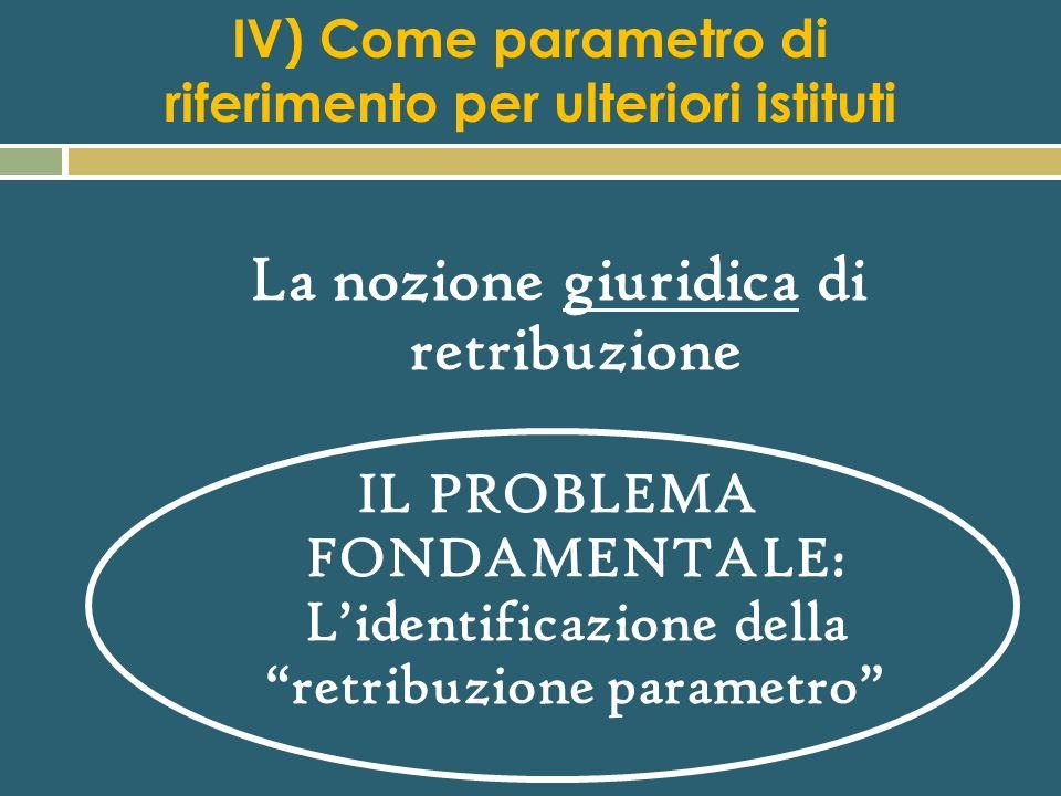 IV) Come parametro di riferimento per ulteriori istituti