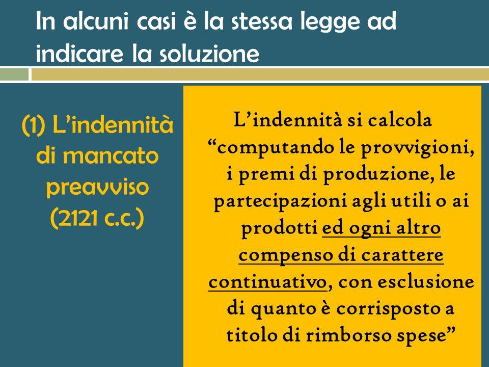 (1) L'indennità di mancato preavviso (2121 c.c.)