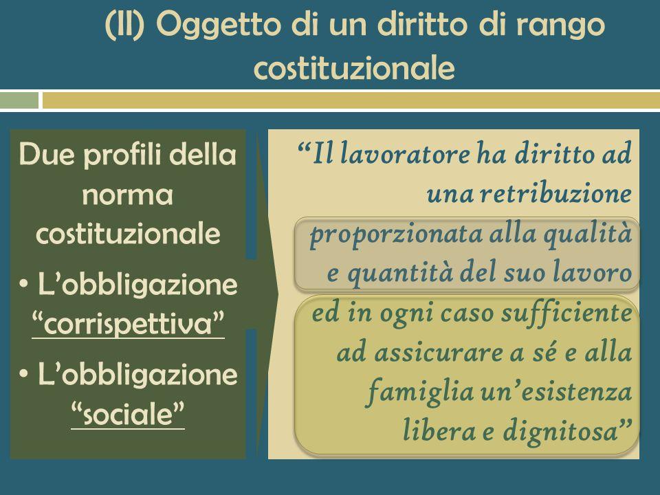 (II) Oggetto di un diritto di rango costituzionale