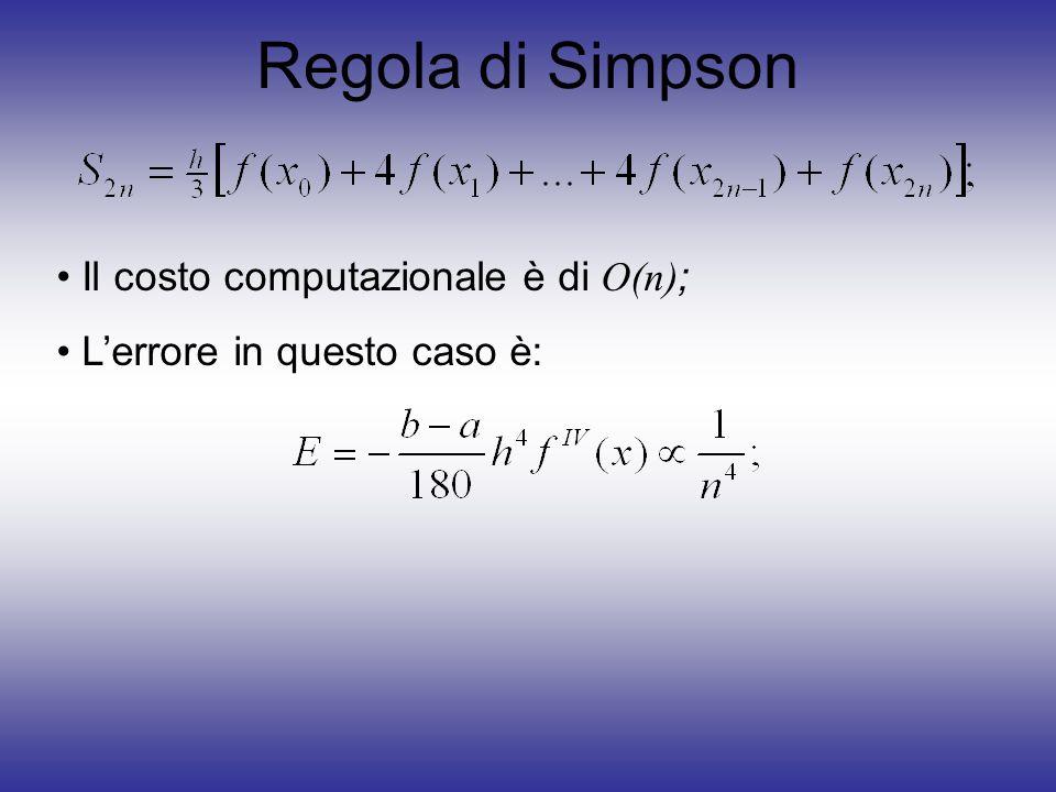 Regola di Simpson Il costo computazionale è di O(n);