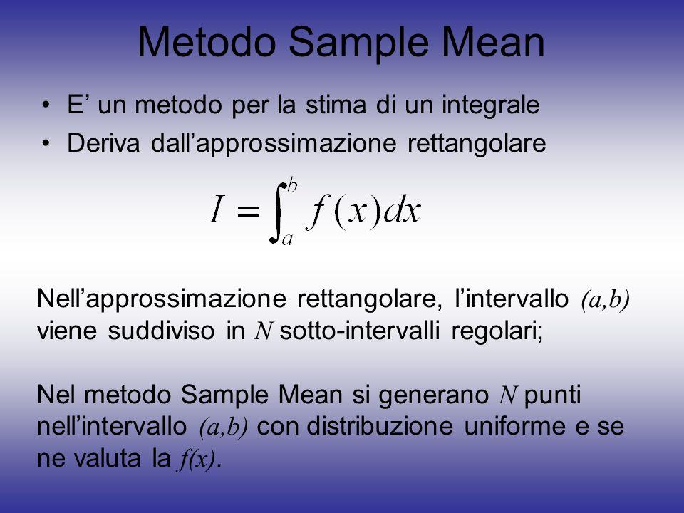 Metodo Sample Mean E' un metodo per la stima di un integrale